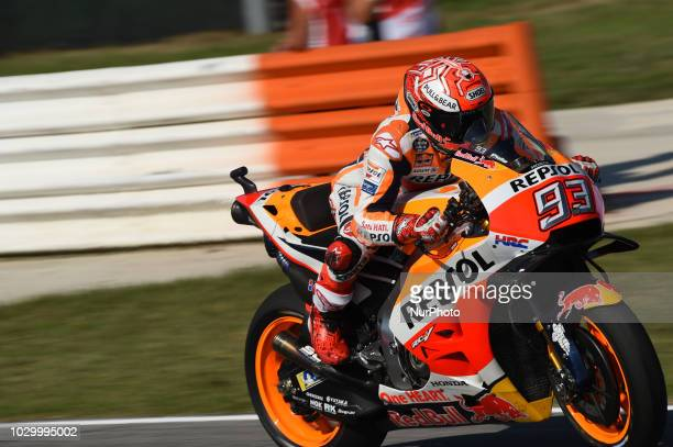 93 Spanish driver Marc Marquez of Team Repsol Honda Team driving during warm up in Misano World Circuit Marco Simoncelli in Misano Adriatico for San...