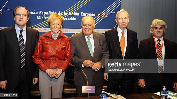 Spanish Education Minister Angel Gabilondo Spain's deputy Prime Minister Maria Teresa Fernandez de la Vega Secretary General of The Iberoamerican...