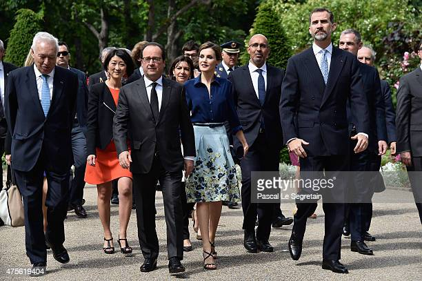 Spanish Embassador to France Jamon De Miguel French President Francois Hollande Queen Letizia of Spain and King Felipe of Spain arrive to attend the...