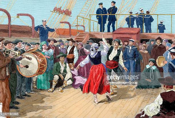 Spanish emigrants on board a ship heading toward Argentina Brabant engraving for 'The Enlightenment ' Colored
