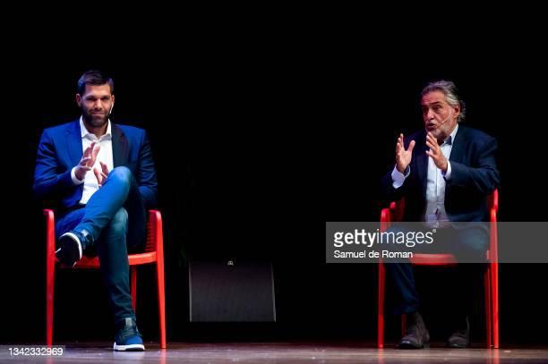 Spanish ex basketball player Felipe Reyes and Pepu Hernandez attend the International Sport Forum on September 24, 2021 in Leon, Spain.
