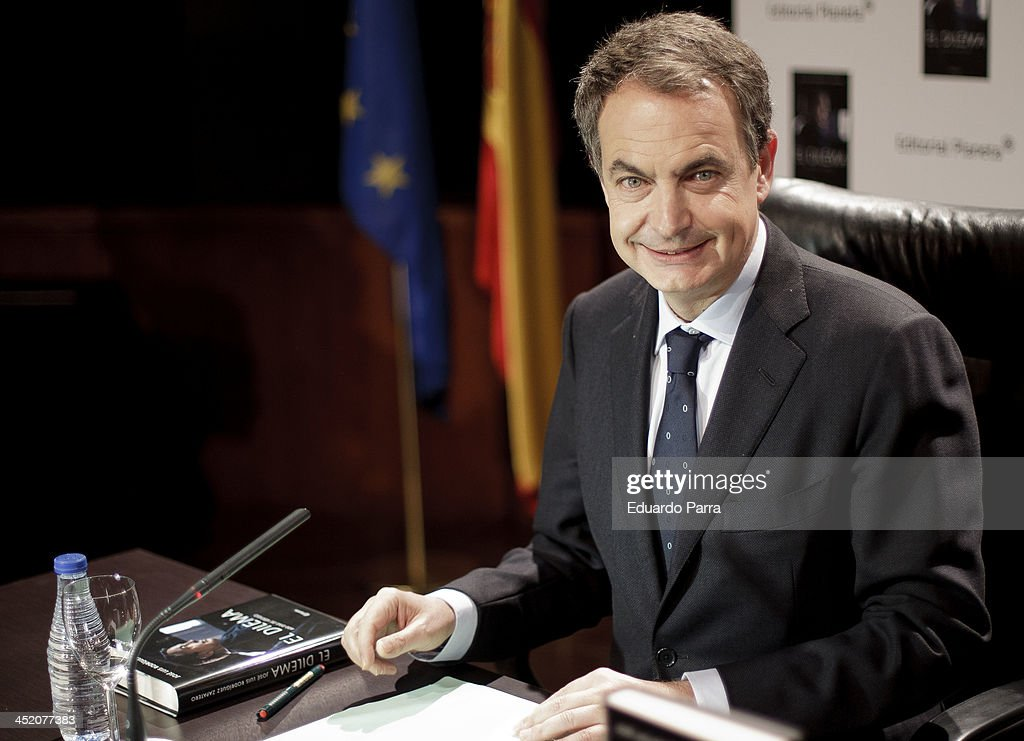 Spanish ex-president Jose Luis Rodriguez Zapatero attends the presentation of his book 'El dilema' at Casa de America on November 26, 2013 in Madrid, Spain.