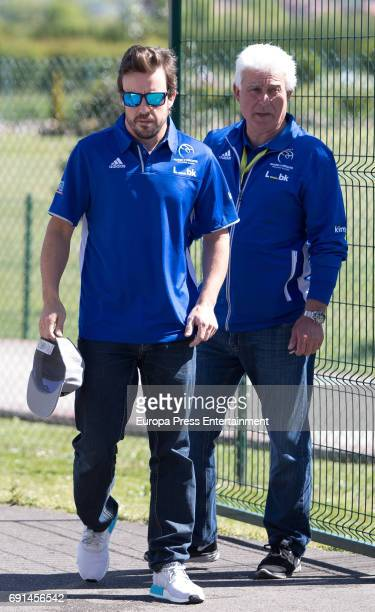 Spanish F1 driver Fernando Alonso and his father Jose Luis Alonso attend the Spanish Kart Racing at Fernando Alonso circuit on May 6 2017 in Asturias...