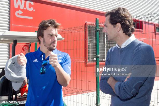 Spanish F1 driver Fernando Alonso and Pedro de la Rosa attend the Spanish Kart Racing at Fernando Alonso circuit on May 6 2017 in Asturias Spain