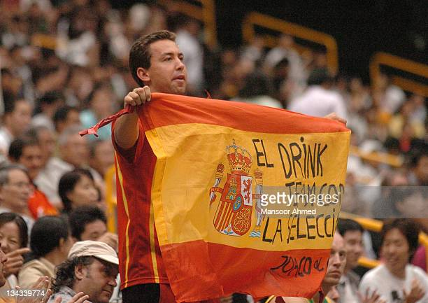 A Spanish fan cheers on his team during the FIBA World Championship 2006 quarterfinal game between Spain and Lithuania at the Saitama Super Arena in...
