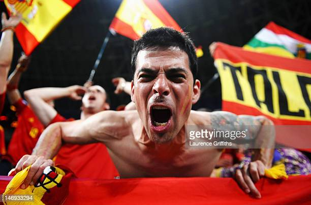 Spanish fan enjoys the atmosphere ahead of the UEFA EURO 2012 quarter final match between Spain and France at Donbass Arena on June 23 2012 in...