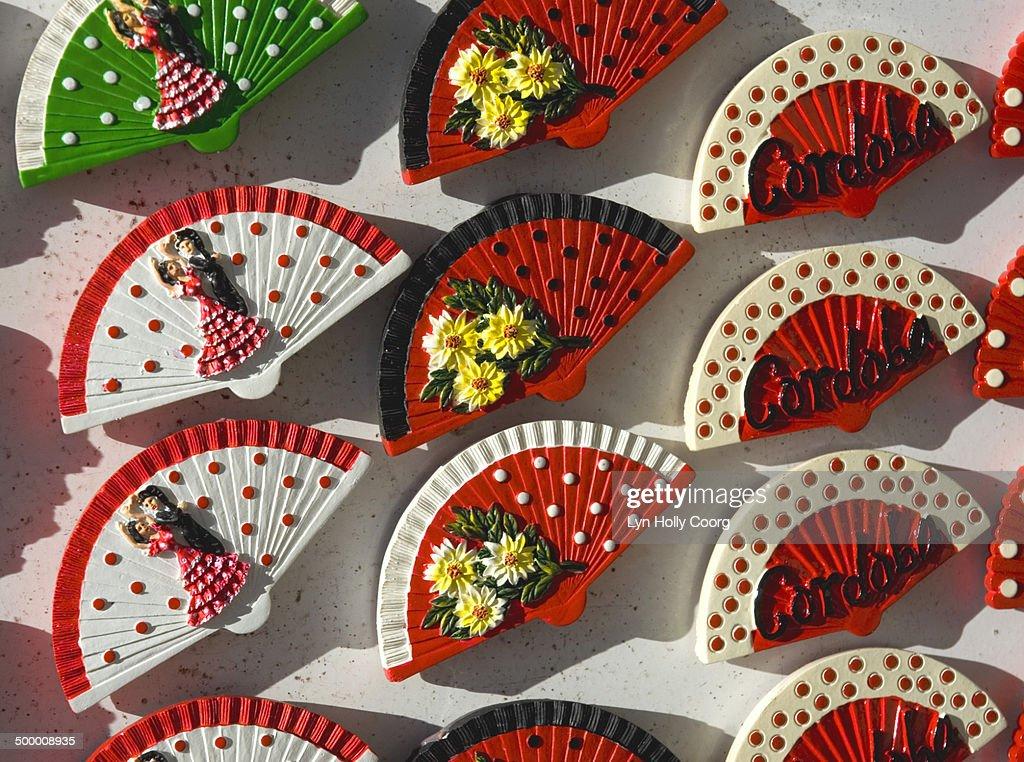 Spanish fan mementos for sale : Stock Photo