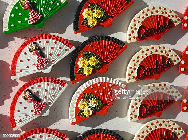 spanish fan mementos for sale - lyn holly coorg stock photos and pictures