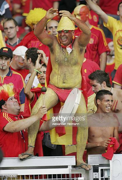 Spanish fans enjoy the atmosphere prior to kickoff during the FIFA World Cup Germany 2006 Group H match between Spain and Tunisia at the...
