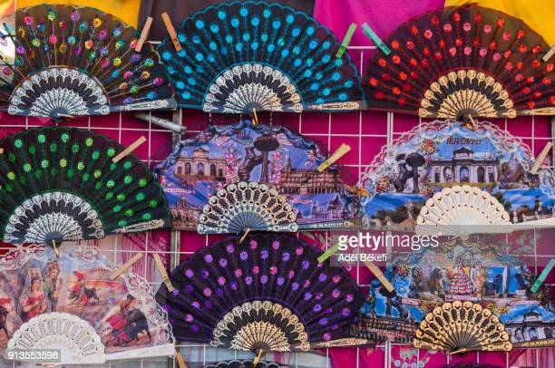 spanish fans for sale at street stall (madrid, spain) - spanish culture stock photos and pictures