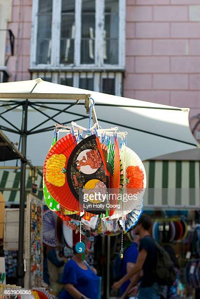 spanish fans for sale in marketplace - lyn holly coorg stock pictures, royalty-free photos & images