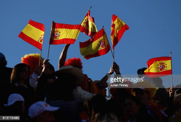Spanish fans show their support for Pablo Carreno Busta and Feliciano Lopez of Spain against Dom Inglot and Jamie Murray of Great Britain in the...