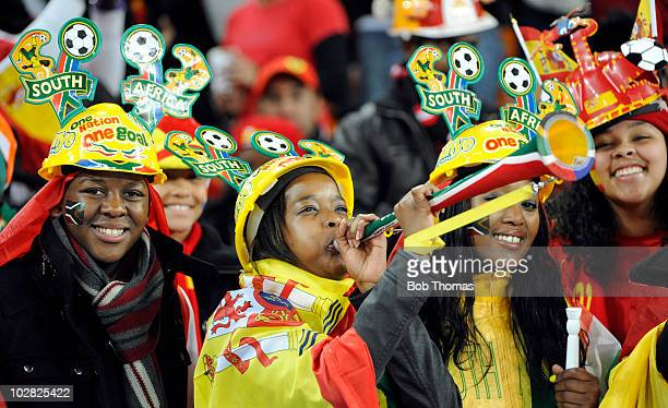Spanish fans with their vuvuzelas before the start of the 2010 FIFA World Cup Final between the Netherlands and Spain on July 11 2010 in Johannesburg...