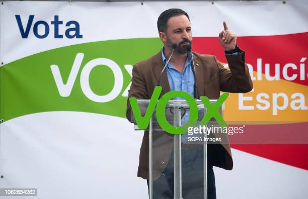 Spanish far right VOX Party leader Santiago Abascal is seen speaking during the campaign of the regional elections in Andalusia