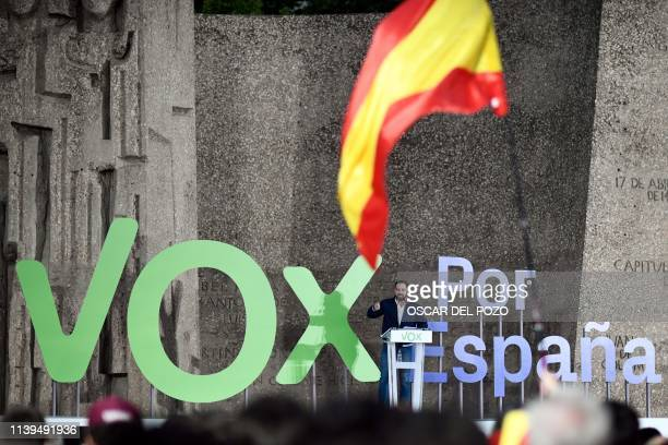 Spanish far-right party VOX' candidate for prime minister Santiago Abascal delivers a speech during their last campaign rally in Madrid on April 26,...