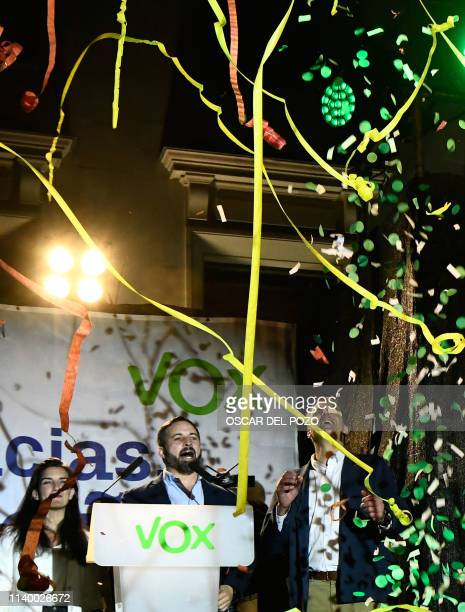 Spanish far-right VOX party leader and candidate for prime minister Santiago Abascal delivers a speech during an election night rally in Madrid after...