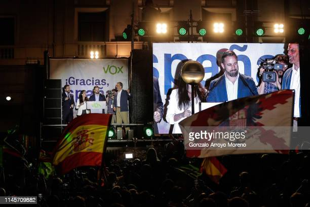 Spanish farright VOX party leader and candidate for prime minister Santiago Abascal delivers a speech during an election night rally in Madrid after...