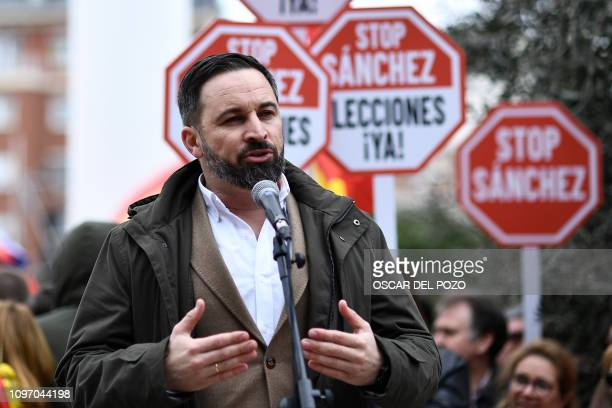 Spanish farright Vox party leader Santiago Abascal delivers a speech during a demonstration in Madrid by rightwing parties on February 10 2019 The...