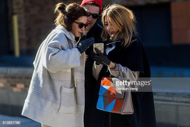 Spanish fashion blogger Gala Gonzalez is wearing a creme wool coat and grey gloves seen outside Derek Lam during New York Fashion Week: Women's...