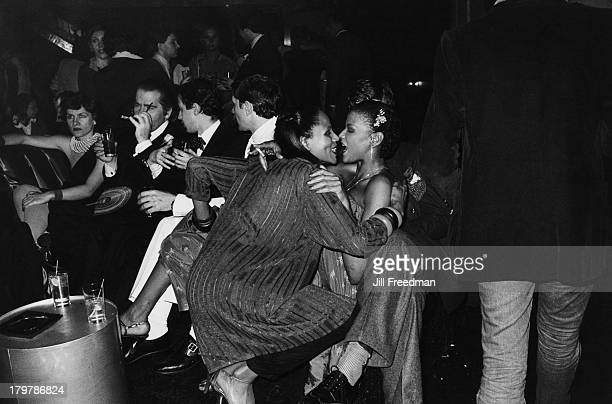Spanish fashion designer Paloma Picasso and German fashion designer Karl Lagerfeld enjoy a night out at Studio 54 New York City 1979