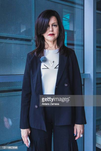 Spanish fashion designer Pilar Torrecillas poses before the catwalk of the Pilar Dalbat show during Mercedes Benz Fashion Week Madrid April 2021 at...