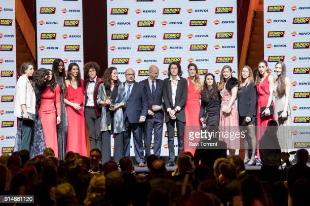 Spanish female basketball team receive the collective effort award during the 70th Mundo Deportivo Gala on February 5 2018 in Barcelona Spain