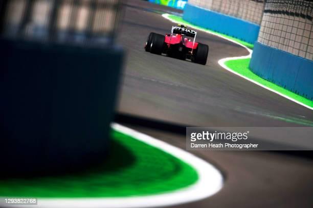 Spanish Ferrari Formula One driver Fernando Alonso driving his Ferrari F10 racing car during practice for the 2010 European Grand Prix, Valencia...