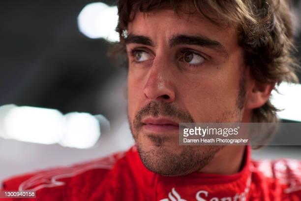 Spanish Ferrari Formula One driver Fernando Alonso in the Scuderia Ferrari pit garage during the 2010 Korean Grand Prix, Yeongam, South Korea, on the...
