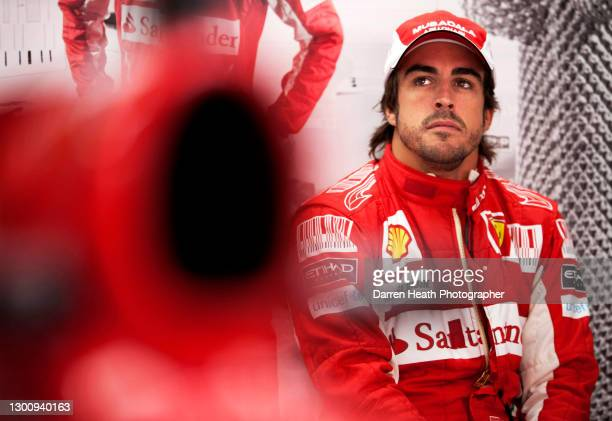 Spanish Ferrari Formula One driver Fernando Alonso in the Scuderia Ferrari pit garage during practice for the 2010 Korean Grand Prix, Yeongam, South...