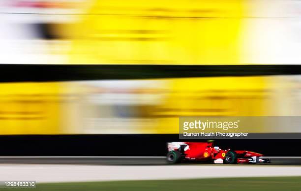 Spanish Ferrari Formula One racing driver Fernando Alonso driving his Ferrari F10 racing car during practice for the 2010 Italian Grand Prix, Monza,...