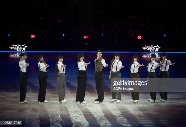 Spanish figure skater and World Champion Javier Fernández performs with the group of skaters 'Revolutionettes' during the show Revolution on Ice Tour...