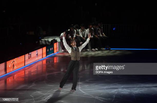 Spanish figure skater and World Champion Javier Fernández seen performing during the show Revolution on Ice Tour show is a spectacle of figure...