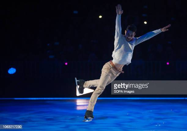 Spanish figure skater and World Champion Javier Fernández seen performing on ice during the show Revolution on Ice Tour show is a spectacle of figure...
