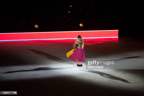 Spanish figure skater and World Champions Javier Fernández seen performing on ice during the show Revolution on Ice Tour show is a spectacle of...
