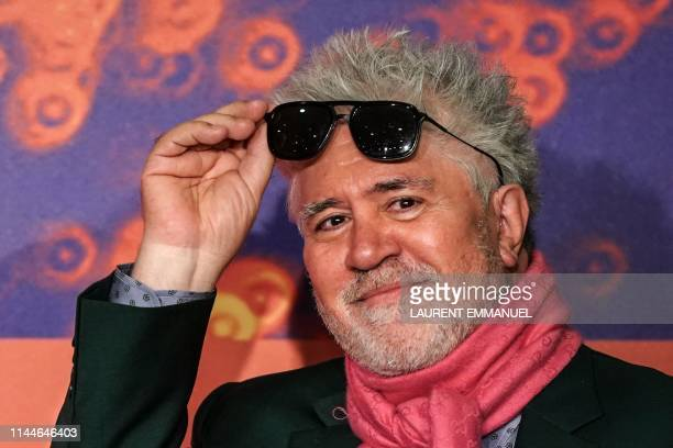 """Spanish film director Pedro Almodovar arrives a press conference for the film """"Dolor Y Gloria """" at the 72nd edition of the Cannes Film Festival in..."""