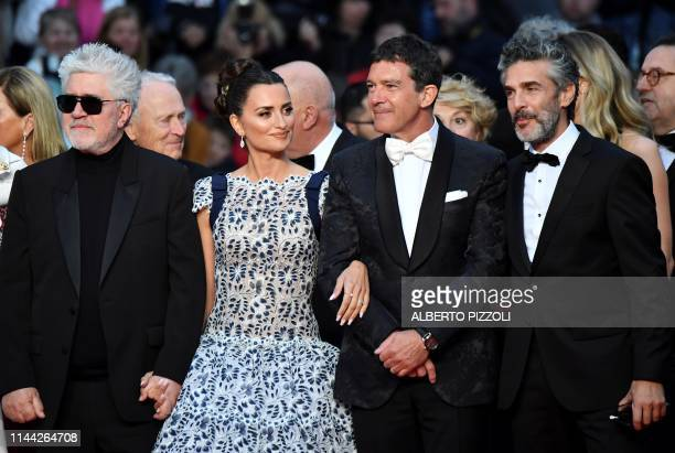 Spanish film director Pedro Almodovar Spanish actress Penelope Cruz Spanish actor Antonio Banderas and Argentinian actor Leonardo Sbaraglia arrive...