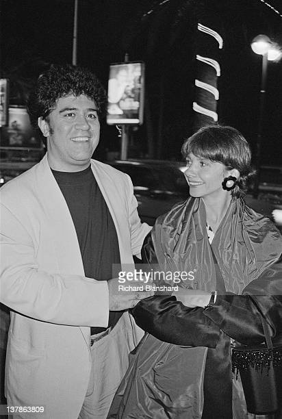 Spanish film director Pedro Almodovar with actress Victoria Abril at the Cannes Film Festival, France, May 1984.