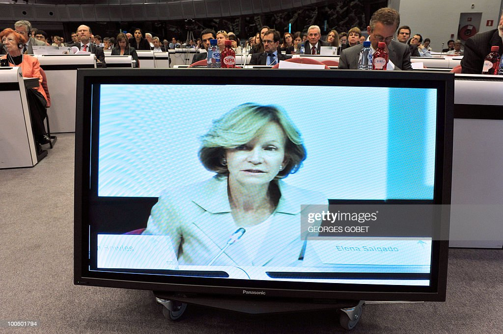 Spanish Finance Minister Elena Salgado appears on a screen as she attends the Brussels Economic Forum on May 25, 2010 at the EU headquarters in Brussels. The Spanish government shares the analysis of the economic challenges facing Spain issued on May 24 by the IMF, which called for 'urgent' labour and banking sector reforms, the finance ministry said.