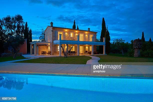spanish finca house dusk