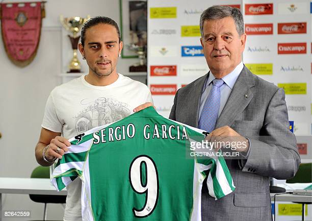 Spanish first division Real Betis Betis President Jose Leon poses on September 3, 2008 during a presentation of the new football forward Sergio...