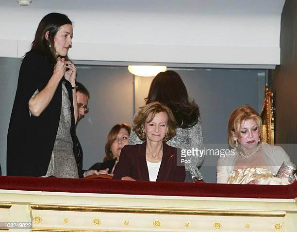Spanish First Vice Prime Minister and Economy minister Elena Salgado Culture Minister Angeles Gonzalez Sinde and Baroness Thyssen attend the 70th...