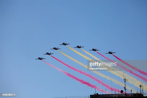 spanish flag in the smoke - spanish military stock pictures, royalty-free photos & images