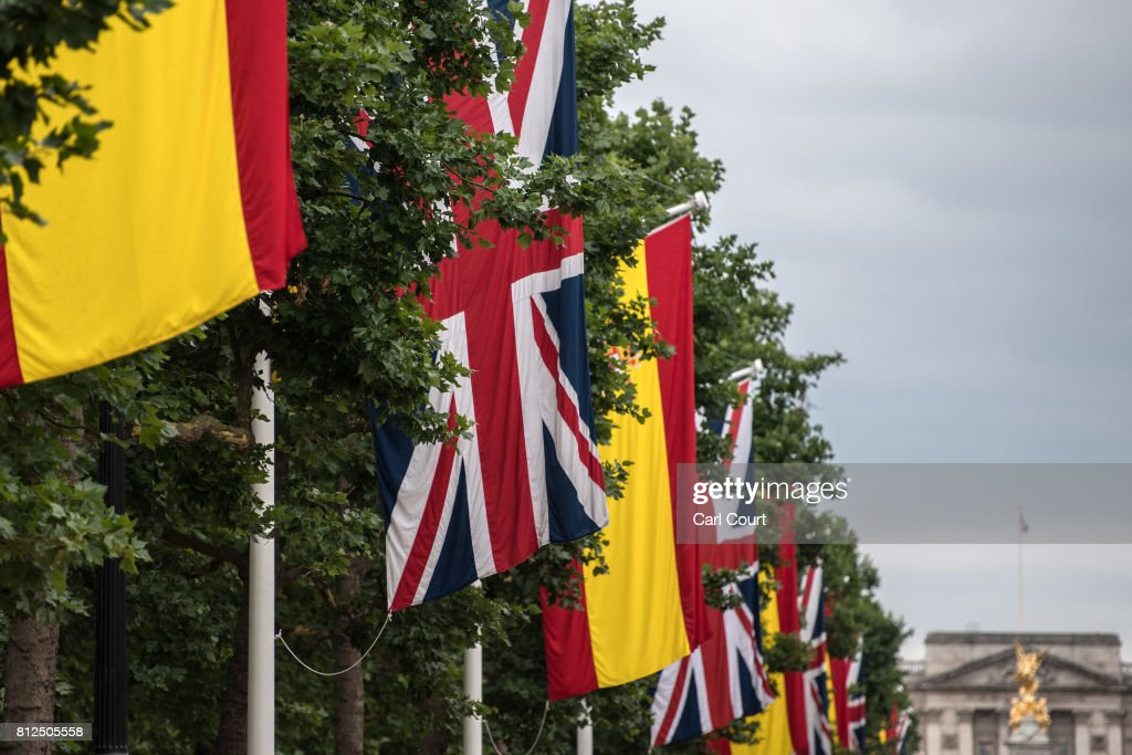Spanish flags are hung alongside Union Flags on The Mall ahead of the state visit by King Felipe and Queen Letizia of Spain, on July 11, 2017 in London, England. The visit was originally planned from 6th to 8th June but was postponed and will now take place on 12th to 14th July 2017.