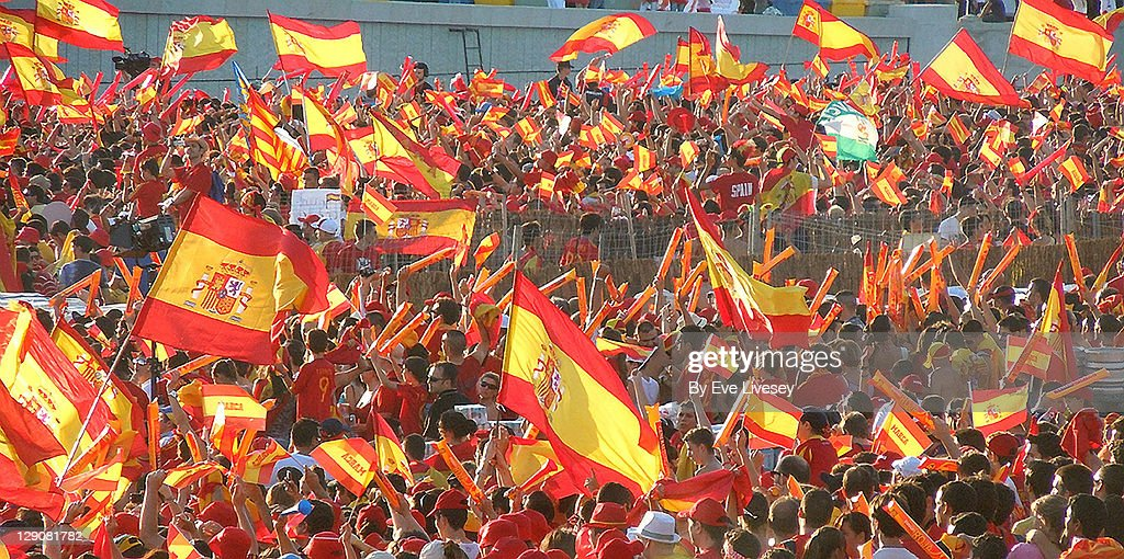 Spanish flags waving : Stock Photo