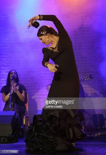 Spanish flamenco dancer Carolina Morgado performs on stage at the citadel of Arbil the northern Iraqi city and capital of the autonomous Kurdish...