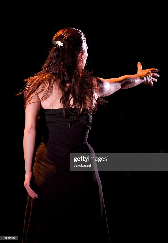 Spanish flamenco dancer Isabel Bayon performs live during a concert