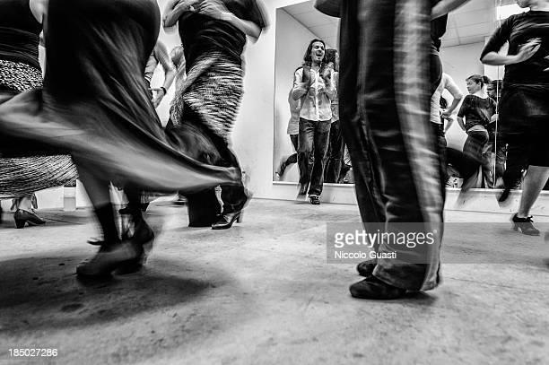 Spanish flamenco dancer Juan Montoya 'Farruquito' during a class in the 'Flamenco por el mundo' School in Seville on October 16 2013 in Seville Spain