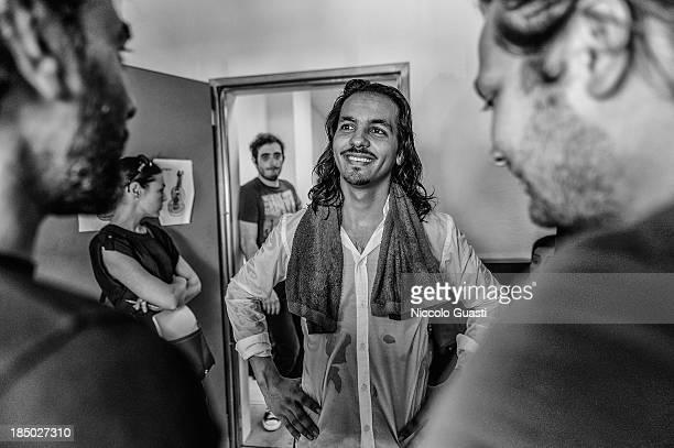 Spanish flamenco dancer Juan Montoya 'Farruquito' smiles during a class in the 'Flamenco por el mundo' School in Seville on October 16 2013 in...