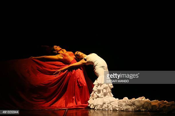 Spanish flamenco dancers perform during the Spanish film director Carlos Saura's show FlamencoIndia at the Calderon theater in Valladolid on October...