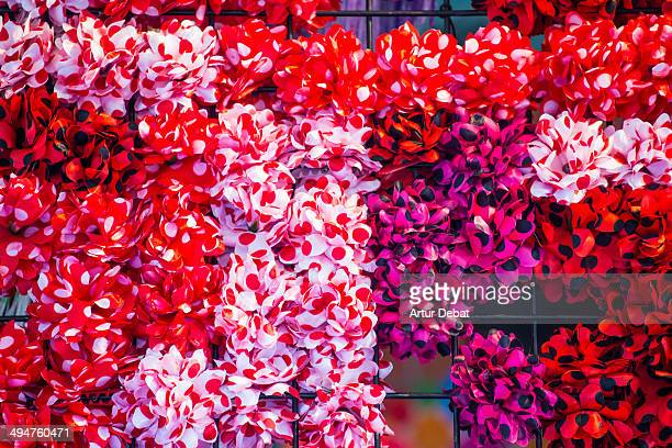 Spanish flamenco hair flowers in Feria de Abril